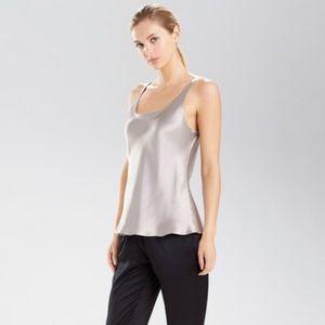 Natori. 'Allure' silver grey silk blouse.